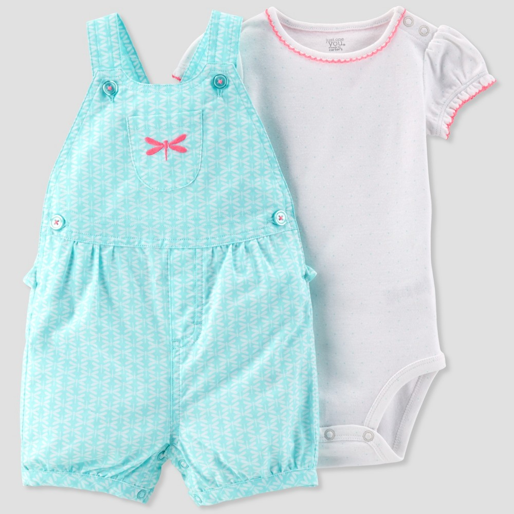 Baby Girls' 2pc Dragonfly Shortall Set - Just One You made by carter's White/Teal 9M, Blue
