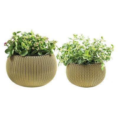 Small And Medium Cozy Knit Planter Set - Citrus Green - Keter