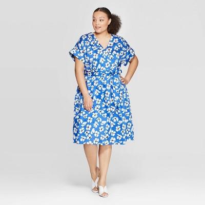 Women's Plus Size Floral Print Short Sleeve V Neck Capri Wrap Dress   Who What Wear Blue/White by Neck Capri Wrap Dress