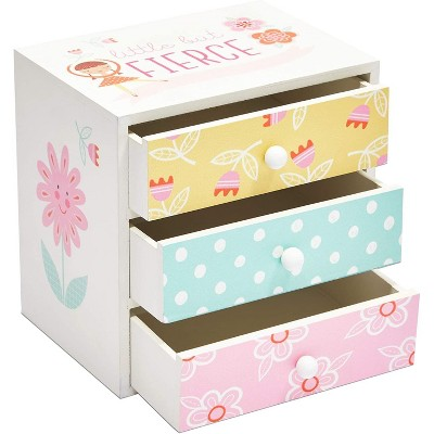 Blue Panda Colorful Wooden Jewelry Box for Kids, 3 Drawers, Little But Fierce (6.1 x 4.5 x 6.1 in)