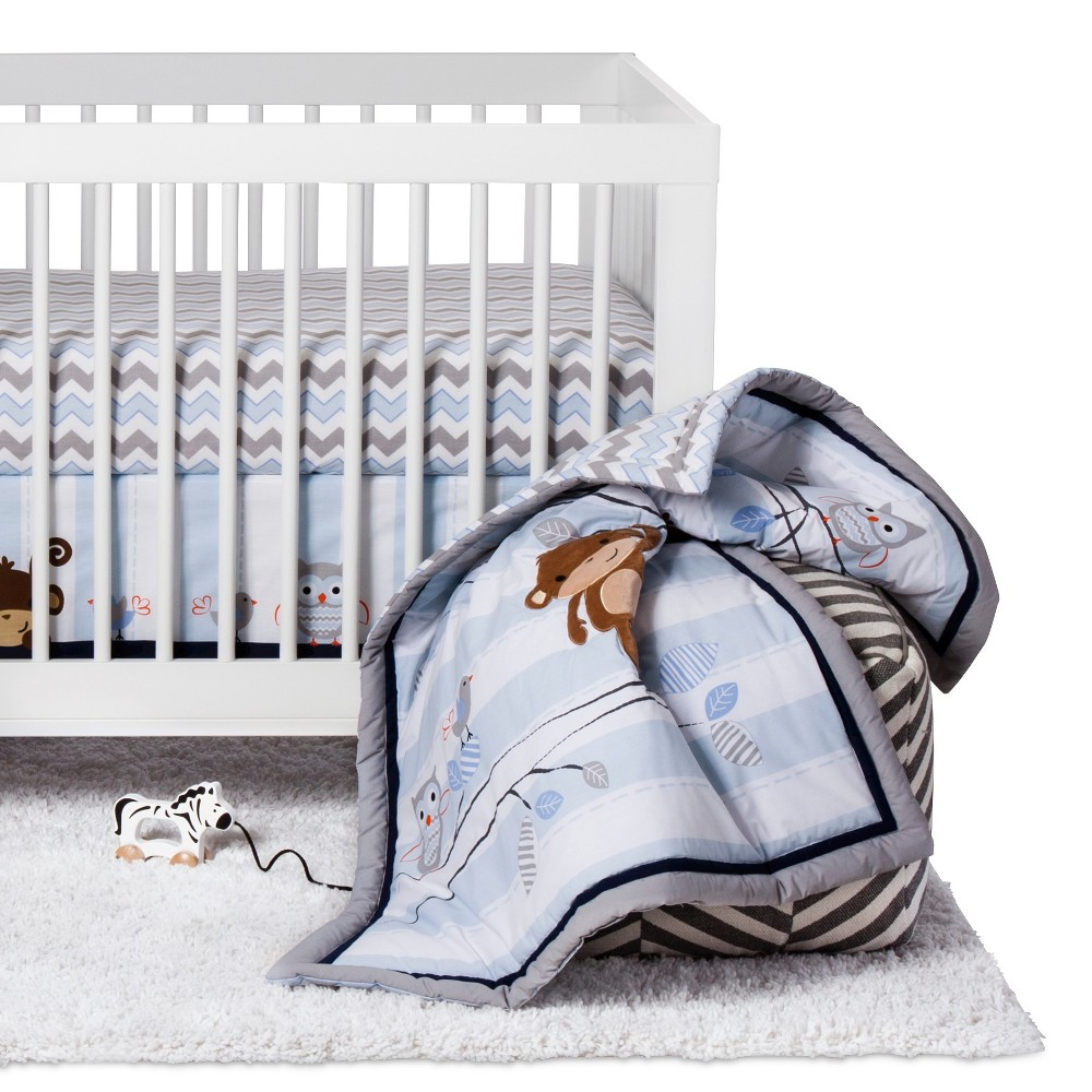 Image of Bedtime Originals 3-Piece Crib Bedding Set - Mod Monkey, White Gray Blue