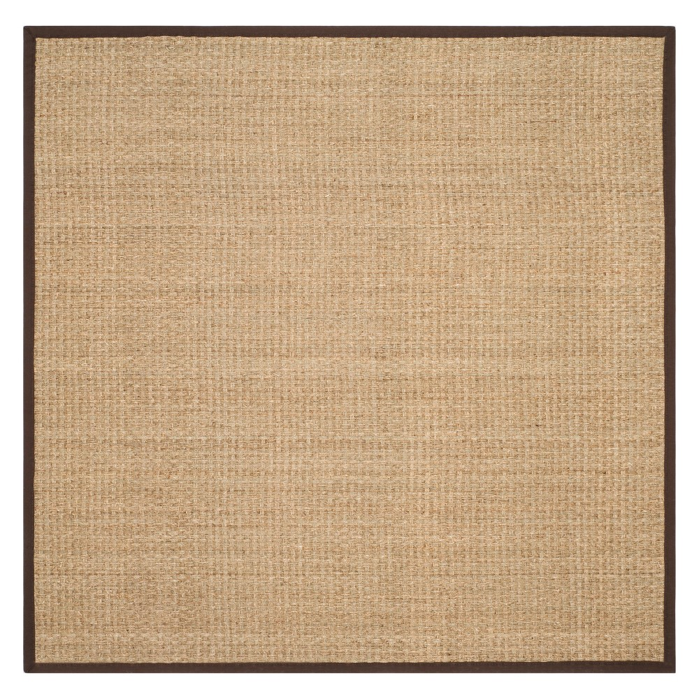 8'X8' Solid Loomed Square Area Rug Natural/Dark Brown - Safavieh