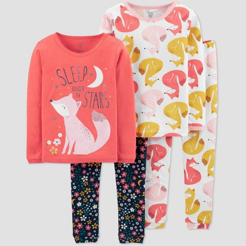 Toddler Girls' 4pc Sleep Fox 100% Cotton Pajama Set - Just One You® made by carter's Coral/Blue - image 1 of 1