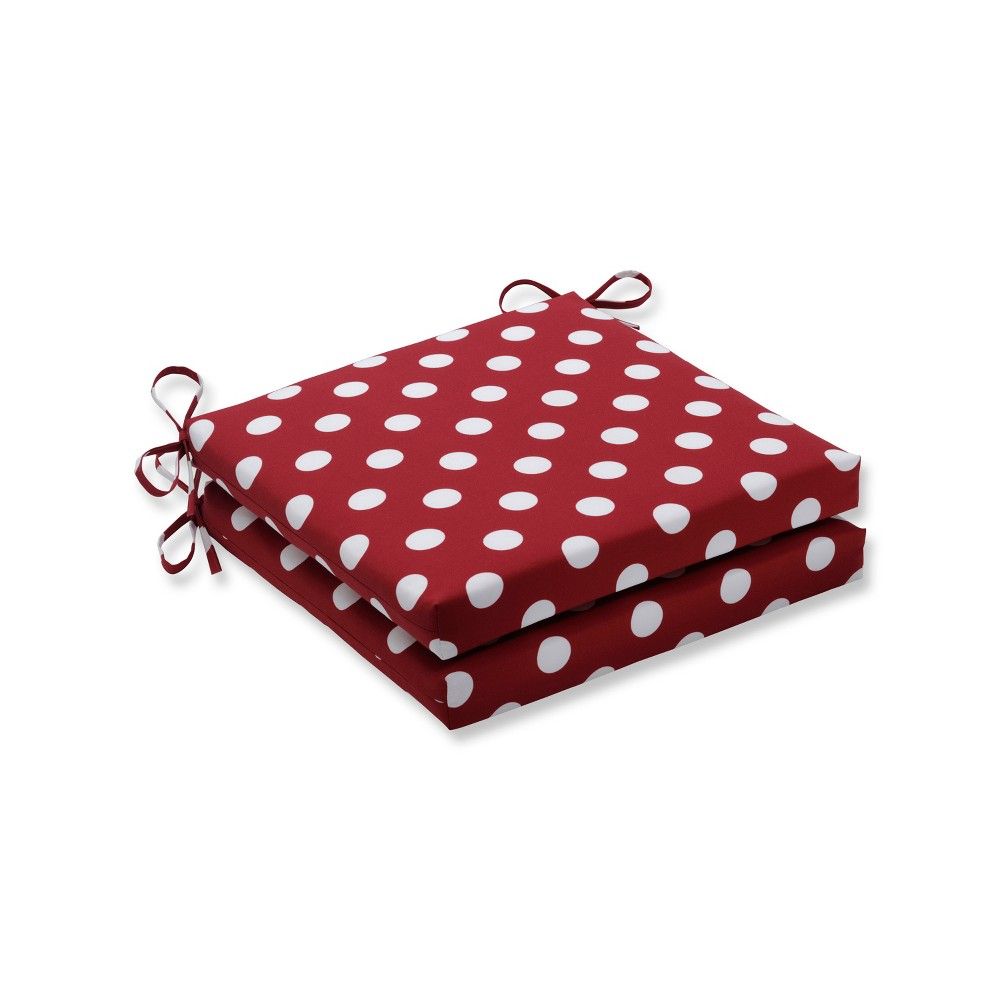 Polka Dot 2pc Indoor/Outdoor Squared Corners Seat Cushion - Pillow Perfect, Red