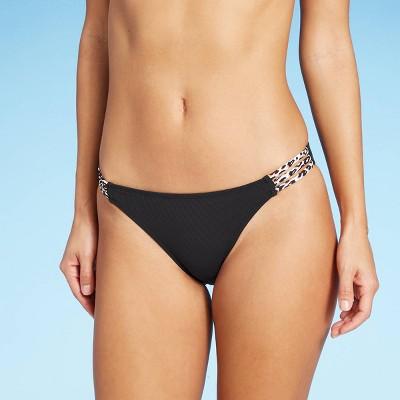 Juniors' Ribbed Strappy Cheeky Bikini Bottom - Xhilaration™ Black