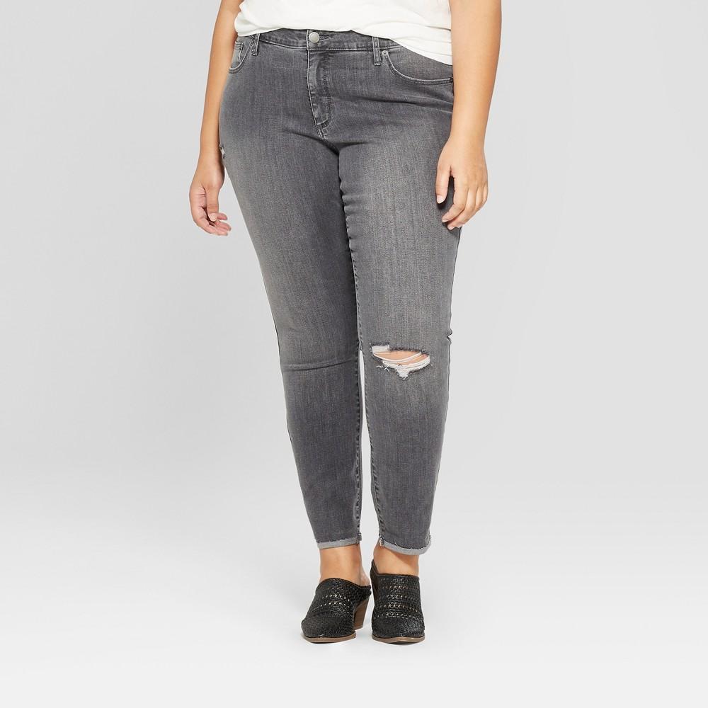 Women's Plus Size Destructed Skinny Jeans - Universal Thread Gray Wash 14W