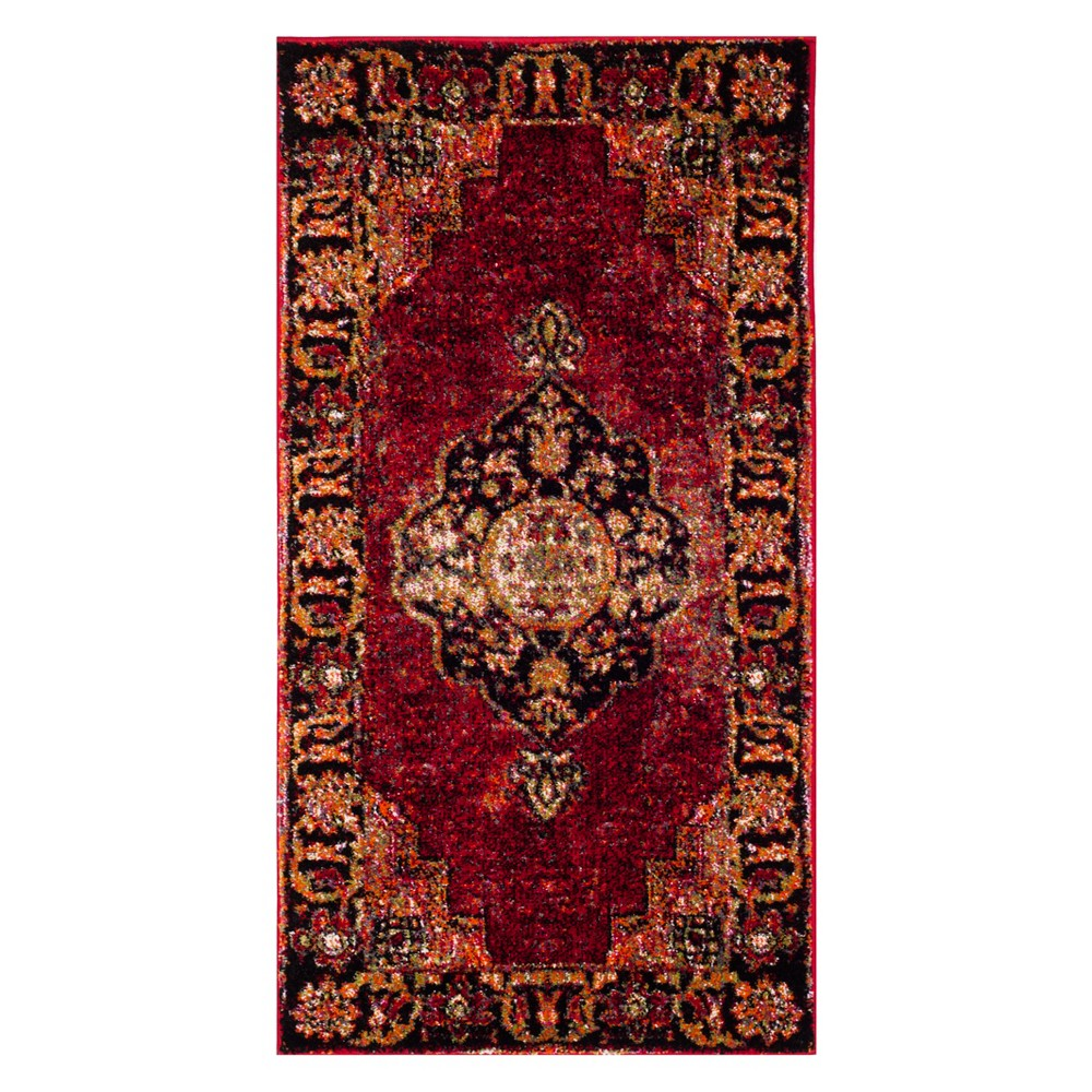 2 2 X4 Medallion Loomed Accent Rug Red Safavieh
