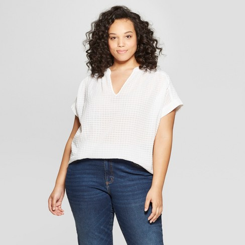 cfacf418f7d Women s Plus Size Short Sleeve Shirt Blouse - Universal Thread™ White