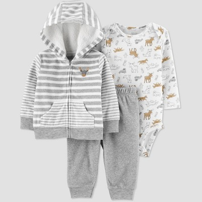 Baby Boys' 3pc Moose Bodysuit, Striped Cardigan Top & Bottom Set - Just One You® made by carter's Gray 6M