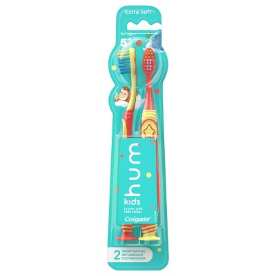 hum kids by Colgate Smart Manual Toothbrush Replacement Pack - Extra Soft Bristles - Yellow & Coral - 2ct