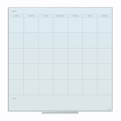 """U Brands 36"""" Square Glass Dry Erase Calendar Board White Frosted Surface"""
