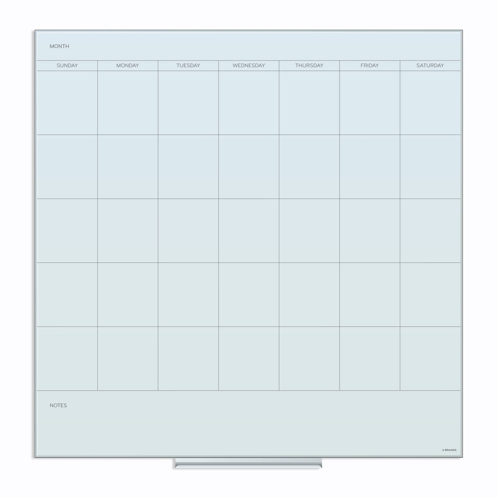 U Brands 36 34 Square Glass Dry Erase Calendar Board White Frosted Surface