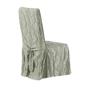 Matelasse Damask Dining Room Chair Cover Sage - Sure Fit, Green