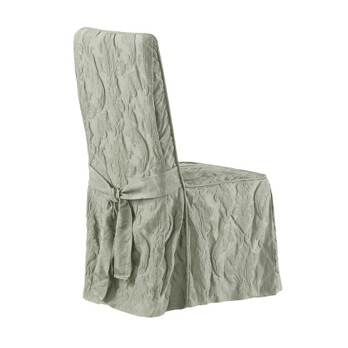 Matelasse Damask Dining Room Chair Cover Sage - Sure Fit