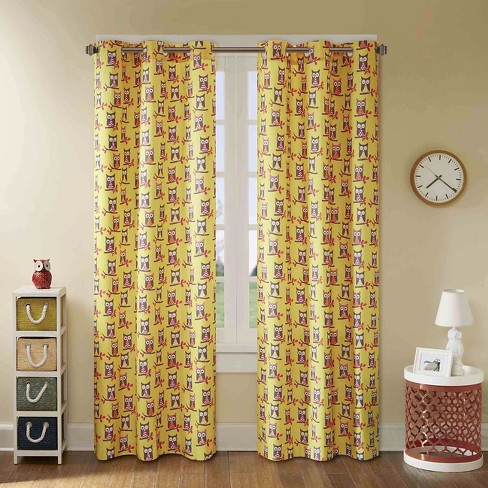Esther Owl Printed Grommet Top Curtain Panel Pair - image 1 of 3
