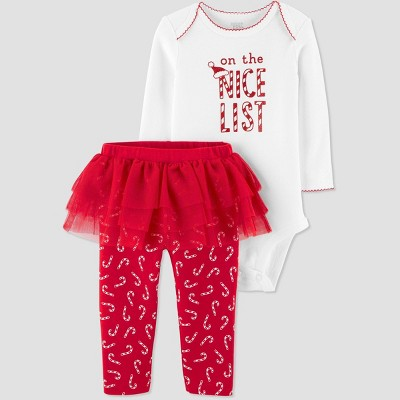 Baby Girls' 2pc 'On The Nice List' Christmas Tutu Top and Bottom Set - Just One You® made by carter's White/Red 12M