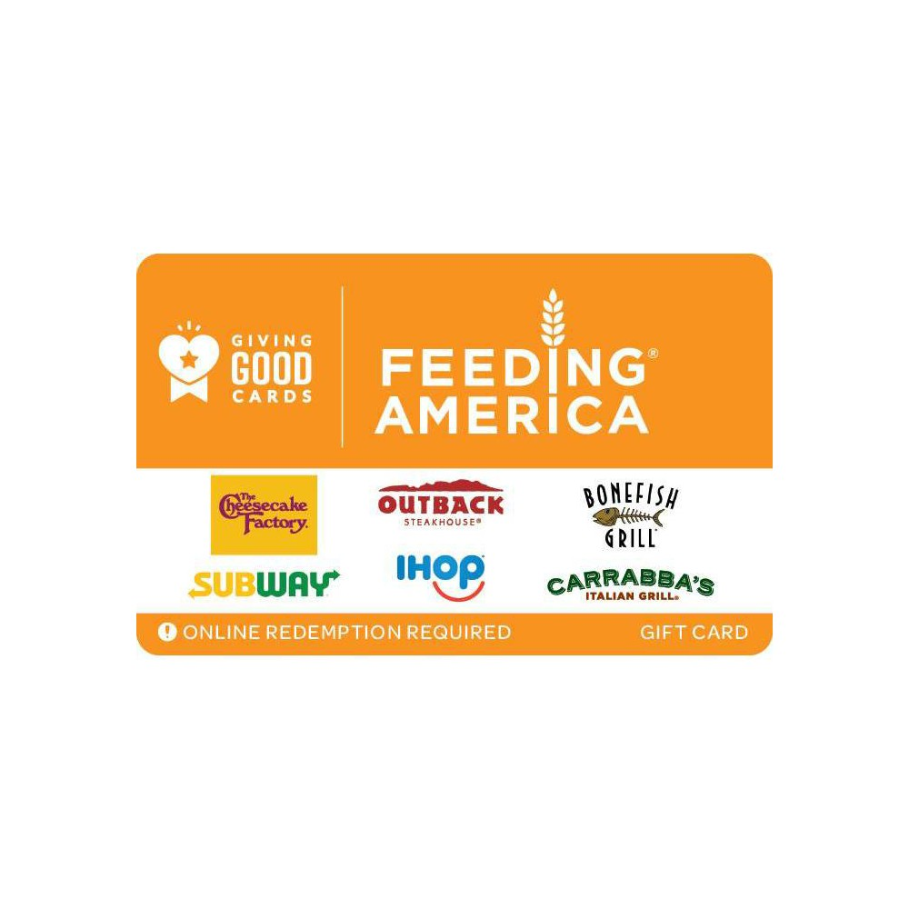 Giving Good Feeding America Gift Card 50 Email Delivery