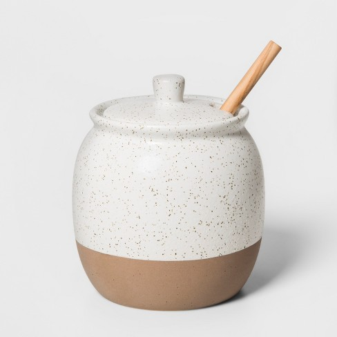 "4.7"" x 4.1"" Stoneware Honey Pot With Wooden Dipper White - Smith & Hawken™ - image 1 of 2"