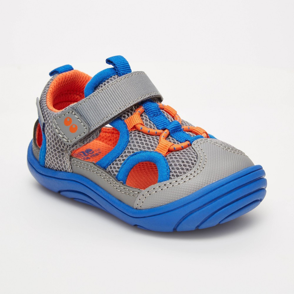 Image of Baby Boys' Surprize by Stride Rite Erin Sneakers - Gray 3, Toddler Boy's, Gray Orange Blue