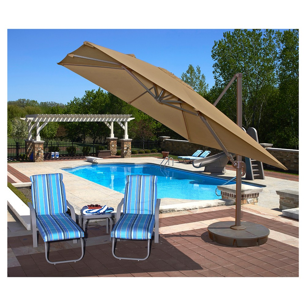 Image of Island Umbrella Santorini II 10' Square Cantilever Umbrella in Stone (Grey) Sunbrella