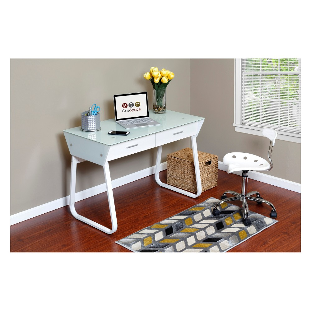 Ultramodern Glass Computer Desk with Drawers Steel Frame White - OneSpace
