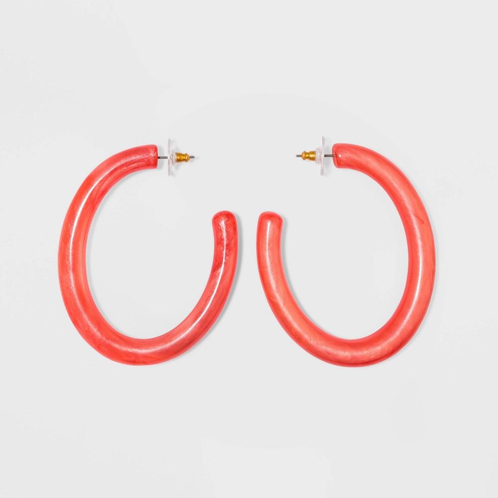 Sugarfix by BaubleBar Chic Resin Hoop Earrings - Coral, Women's
