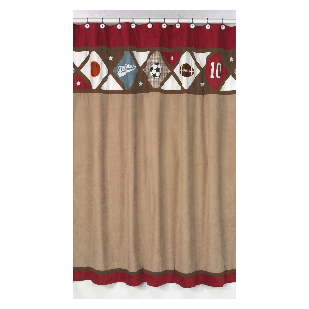All Star Shower Curtain Red/Brown - Sweet Jojo Designs