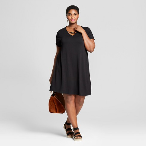 Women's Plus Size Cross Front T-Shirt Dress - Ava & Viv ™ - image 1 of 3