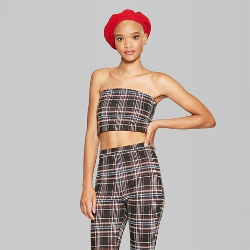 79f3d0ab13 Women s Plaid Knit Cropped Tube Top - Wild Fable™ Black   Target