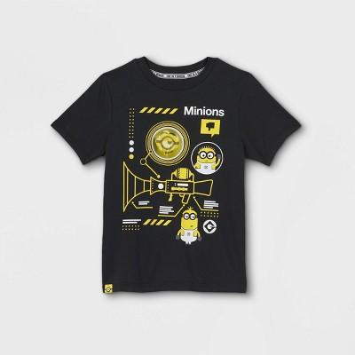 Boys' Minions Fart Blaster Flip Sequins Short Sleeve Graphic T-Shirt - Black