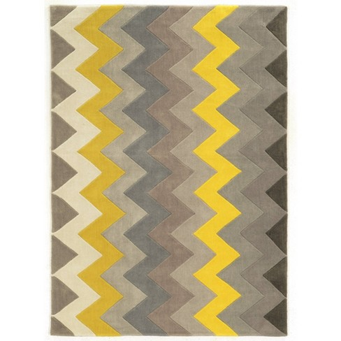 5 X7 Trio Collection Zigzag Area Rug Gray Yellow Linon Target
