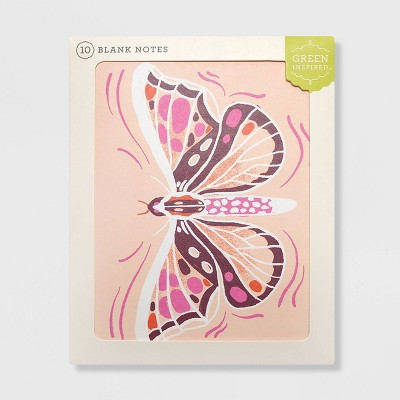 Green Inspired 10ct Purple Moth Blank Cards