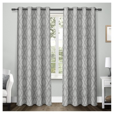 Easton Heavyweight Geometric Jacquard Linen with Woven Blackout Liner Grommet Top Window Curtain Panel Pair Steel Blue (54 x108 )- Exclusive Home