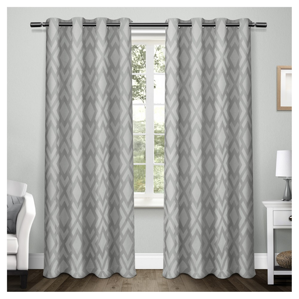 """Image of """"Easton Heavyweight Geometric Jacquard Linen with Woven Blackout Liner Grommet Top Window Curtain Panel Pair Steel Blue (54""""""""x108"""""""") - Exclusive Home"""""""