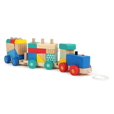Small Foot Wooden Toys Train Pull Along Sorting Game - 23pc