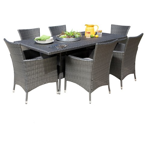 Malta 7pc Rectangle All Weather Wicker Patio Dining Set
