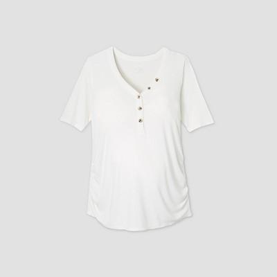 Maternity Elbow Sleeve V-Neck Henley Top - Isabel Maternity by Ingrid & Isabel™ Cream L