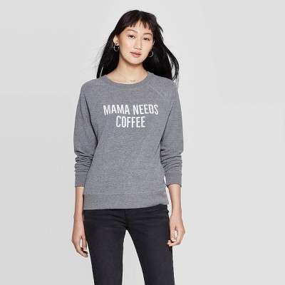 womens-mama-needs-coffee-graphic-sweatshirt-(juniors)---gray by grayson-threads