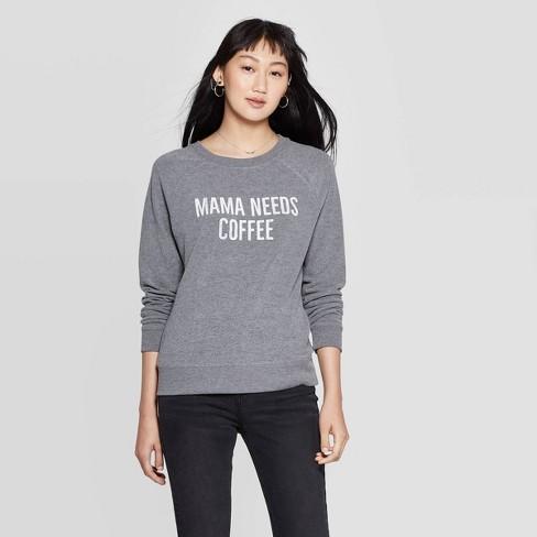 Women's Mama Needs Coffee Graphic Sweatshirt (Juniors') - Gray - image 1 of 2