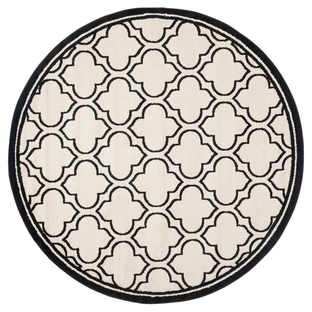 Coco 7' Round Indoor/Outdoor Rug - Ivory/Anthracite (Ivory/Grey) - Safavieh