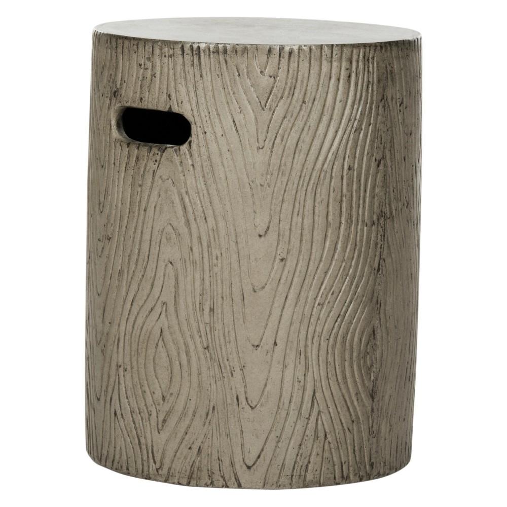 Trunk Round Concrete Accent Table Dark Gray Safavieh