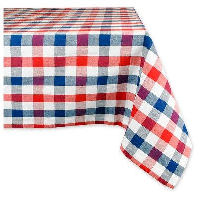 """Red & Blue Check Tablecloth (70""""Round) - Design Imports"""