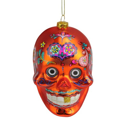 "NORTHLIGHT 4"" Day of the Dead Glitter Embellished Skull Halloween Christmas Ornament - Orange - image 1 of 2"