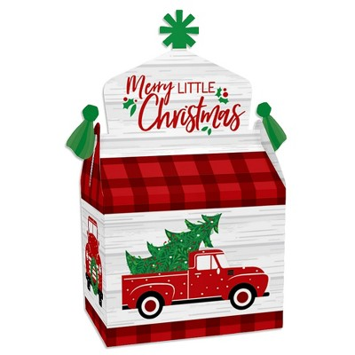 Big Dot of Happiness Merry Little Christmas Tree - Treat Box Party Favors - Red Truck Christmas Party Goodie Gable Boxes - Set of 12