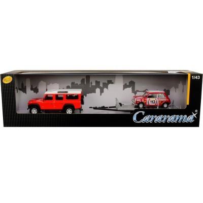 "Land Rover Defender 110 Red & White Top w/Trailer & Mini Cooper #113 ""British Racing"" 1/43 Diecast Model Cars Cararama"