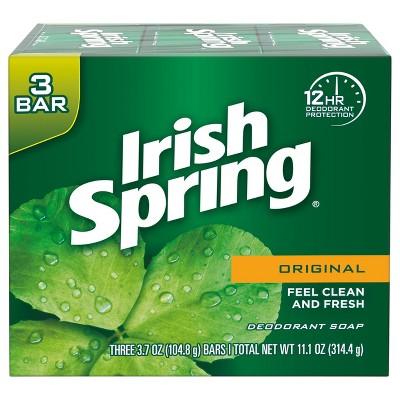 Irish Spring Original Mens Deodorant Bar Soap for Body and Hands - Washes Away Bacteria - 3pk - 3.7oz each