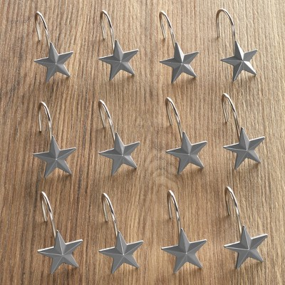Lakeside Gray Farmhouse Star Shower Curtain Hanging Hooks - Set of 12