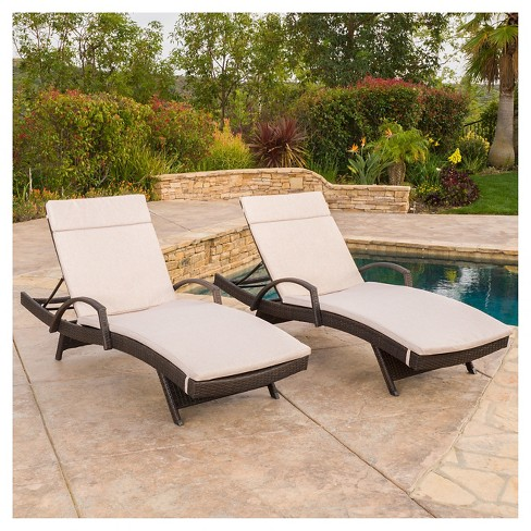 Haage Set Of 2 Outdoor Wicker Armed Chaise Lounge With Cushion Brown Christopher Knight Home