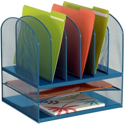 Safco Onyx Desk Organizer 2 Horizontal 6 Upright Sections Blue 3255BU