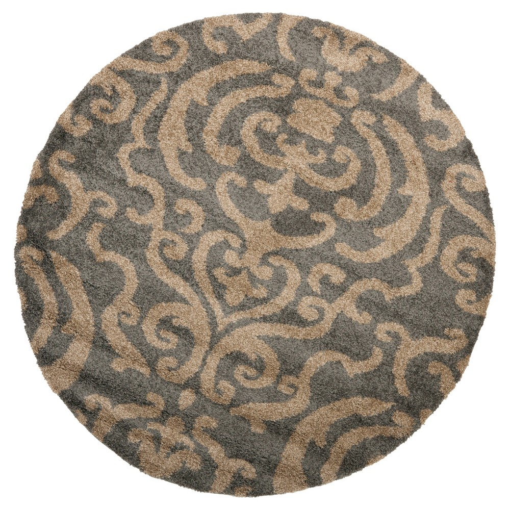 Gray/Beige Abstract Loomed Round Accent Rug - (4' Round) - Safavieh
